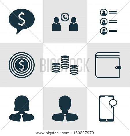 Set Of 9 Human Resources Icons. Can Be Used For Web, Mobile, UI And Infographic Design. Includes Elements Such As Opinion, Chat, Conference And More.