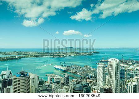 Auckland New Zealand- December 12 2013. Landscape view from Auckland skycraper.