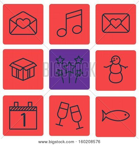 Set Of 9 Celebration Icons. Can Be Used For Web, Mobile, UI And Infographic Design. Includes Elements Such As Music, Food, Envelope And More.