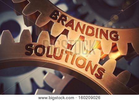 Branding Solutions - Technical Design. Branding Solutions on the Mechanism of Golden Cogwheels with Lens Flare. 3D Rendering.