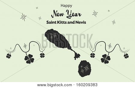 Happy New Year Illustration Theme With Map Of Saint Kitts And Nevis