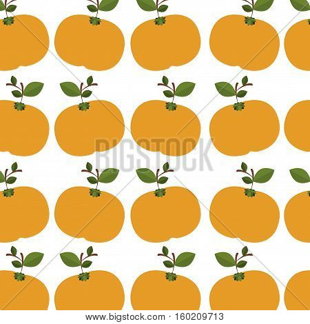 colorful pattern of tangerines with stem and leafs vector illustration