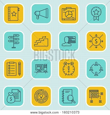 Set Of 16 Project Management Icons. Can Be Used For Web, Mobile, UI And Infographic Design. Includes Elements Such As Making, Skills, Flow And More.