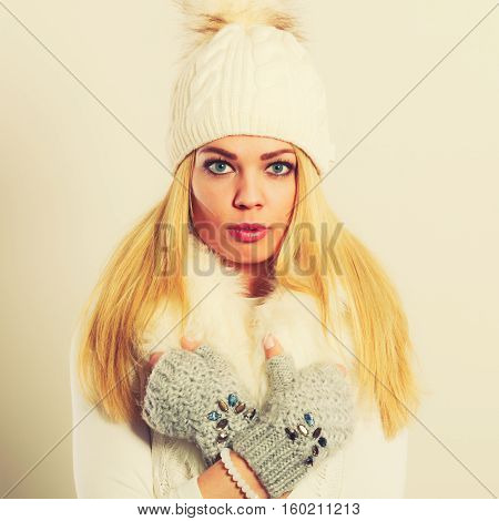 Woman In Winter Clothes Woolen Cap Fur Scarf