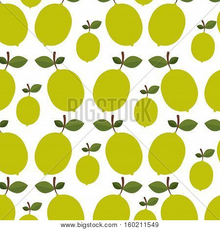 colorful pattern of lemons with stem and leafs vector illustration