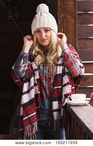 Young Attractive Woman In The Plaid Shirt