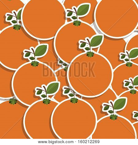 silhouette colorful pattern of oranges with stem and leafs vector illustration