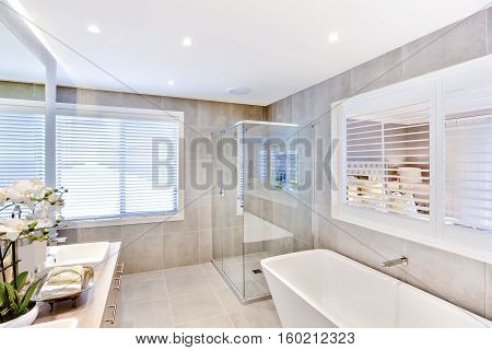 Modern bathroom with a washbasin and shower area near to white windows around the sunlight came through it there are white flowering plant near to the mirror