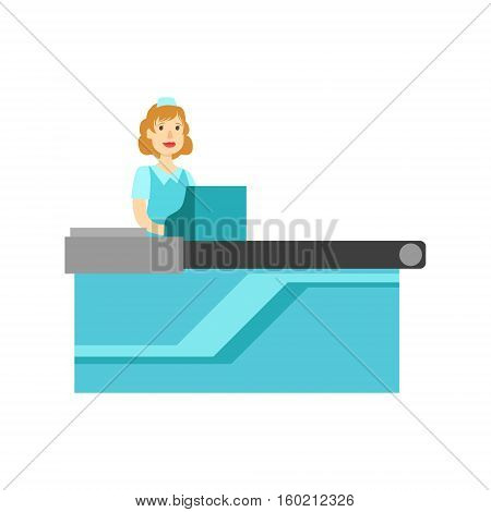 Woman Cashier At The Counter, Shopping Mall And Department Store Section Illustration. Person Standing Working On Cash Register Smiling Cartoon Character.