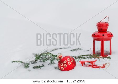 Image Of Red Decorative Toy Balls In The Snow