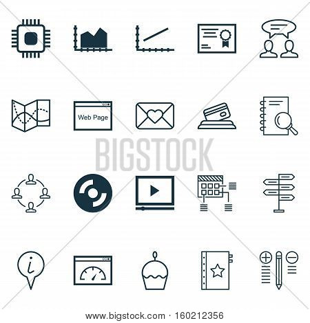 Set Of 20 Universal Editable Icons. Can Be Used For Web, Mobile And App Design. Includes Elements Such As Birthday Cake, Certificate, Chip And More.