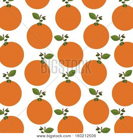 colorful pattern of oranges with stem and leafs vector illustration