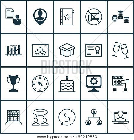 Set Of 20 Universal Editable Icons. Can Be Used For Web, Mobile And App Design. Includes Elements Such As Certificate, PC, Locate And More.