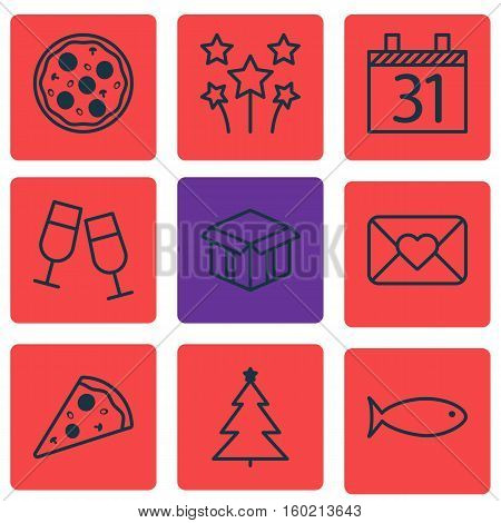 Set Of 9 Holiday Icons. Can Be Used For Web, Mobile, UI And Infographic Design. Includes Elements Such As Fish, Festive, Celebration And More.