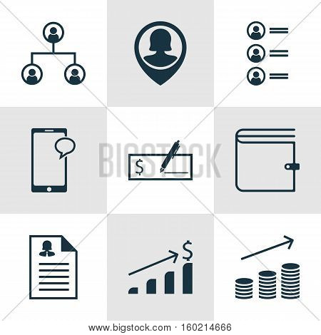 Set Of 9 Human Resources Icons. Can Be Used For Web, Mobile, UI And Infographic Design. Includes Elements Such As Wallet, Applicants, Money And More.