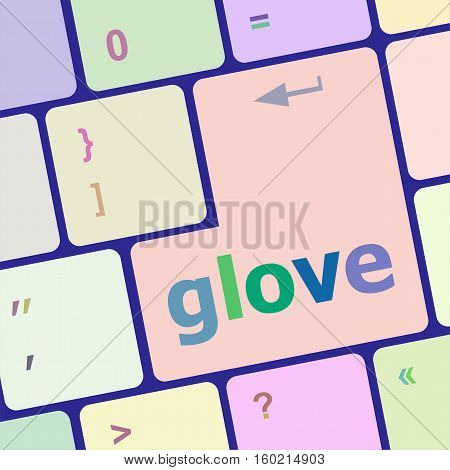 Glove Word On Keyboard Key, Notebook Computer Button