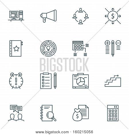 Set Of 16 Project Management Icons. Can Be Used For Web, Mobile, UI And Infographic Design. Includes Elements Such As Dashboard, Finance, Revenue And More.