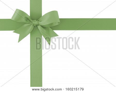 green ribbon with bow isolated on white background, for decoration and add beauty to gift box
