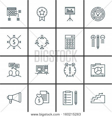 Set Of 16 Project Management Icons. Can Be Used For Web, Mobile, UI And Infographic Design. Includes Elements Such As Cash, Solution, Growth And More.