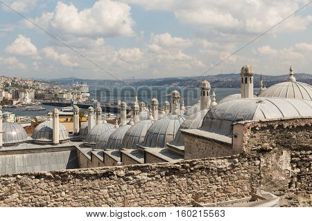 View Of Istanbul Towards The Bosphorus Bridge And Asia