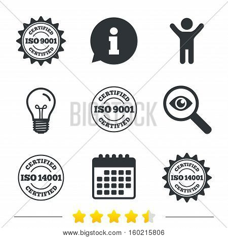 ISO 9001 and 14001 certified icons. Certification star stamps symbols. Quality standard signs. Information, light bulb and calendar icons. Investigate magnifier. Vector