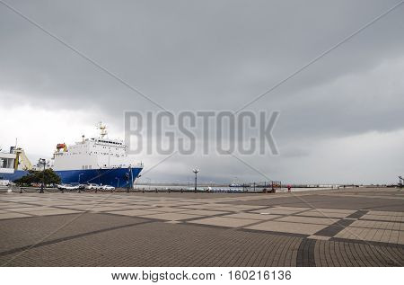 The Square In Front Of The City Of Novorossiysk Naval Station. Ship In Marskogo Station.