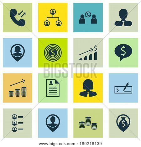 Set Of 16 Human Resources Icons. Can Be Used For Web, Mobile, UI And Infographic Design. Includes Elements Such As Check, Success, Phone And More.