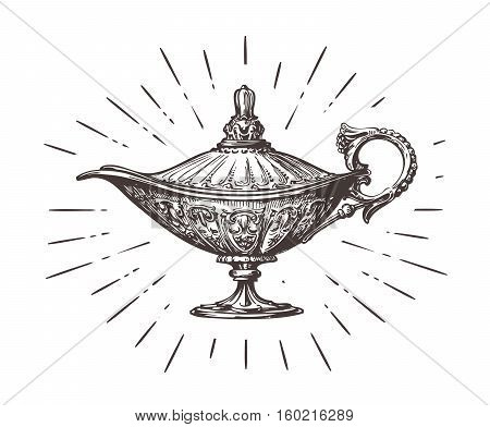 Aladdin magic or genie lamp. Vintage sketch vector illustration isolated on white background
