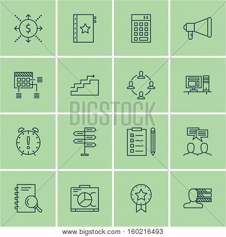Set Of 16 Project Management Icons. Can Be Used For Web, Mobile, UI And Infographic Design. Includes Elements Such As Flow, Management, Skills And More.