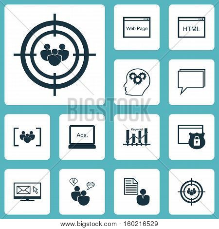 Set Of 12 Marketing Icons. Can Be Used For Web, Mobile, UI And Infographic Design. Includes Elements Such As Consulting, SEO, Target And More.