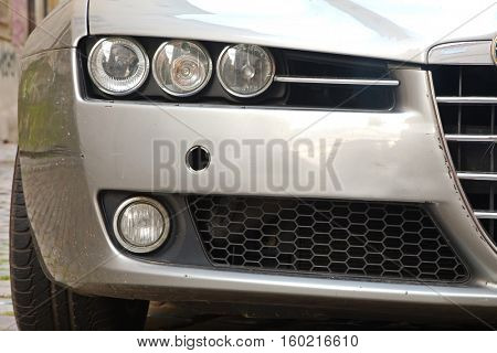 PRAGUE, CZECH REPUBLIC - OCTOBER 30, 2016: The iconic front of an Alfa Romeo 159. The 159 was produced between 2004 and 2011.