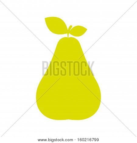 silhouette green color pear with stem and leafs vector illustration