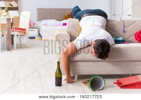 Man after heavy christmas partying at home