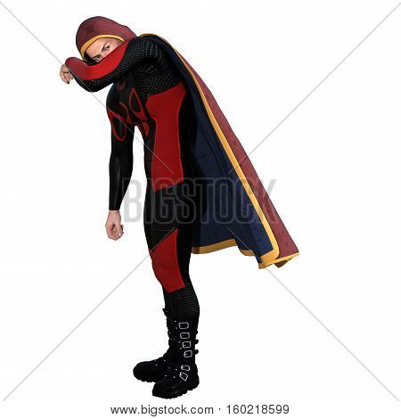 One young man in a super suit and a red cloak. It is slightly lowered and his left hand covers his face. 3D rendering, 3D illustration