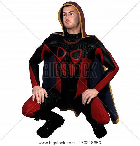 One young man in a super suit and a red cloak. He sits with half bent legs and your hands put on legs. 3D rendering, 3D illustration