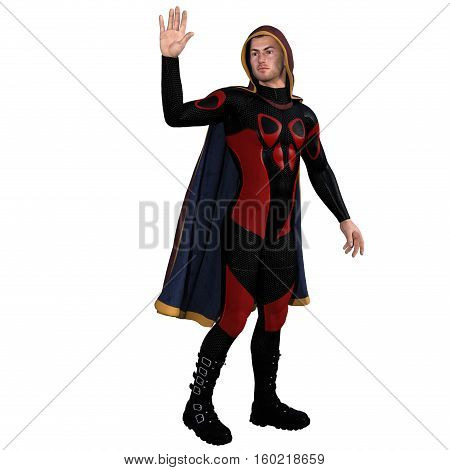 One young man in a super suit and a red cloak. He is half turning back and waving goodbye. 3D rendering, 3D illustration