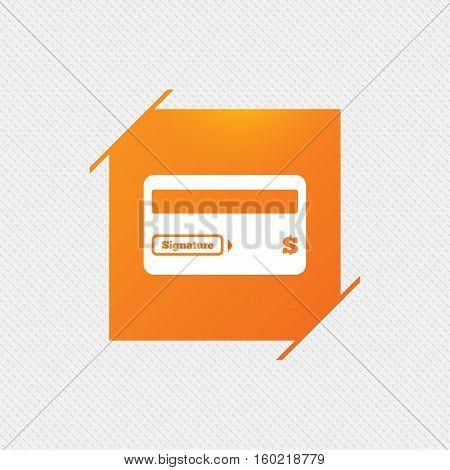 Credit card sign icon. Debit card symbol. Virtual money. Orange square label on pattern. Vector