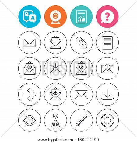 Mail services icons. Send mail, paper clip and download arrow symbols. Scissors, pencil and refresh thin outline signs. Receive, select and delete mail. Report document, question and answer icons