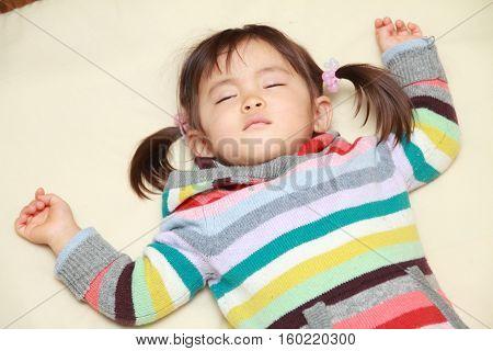 Sleeping small Japanese girl (2 years old)