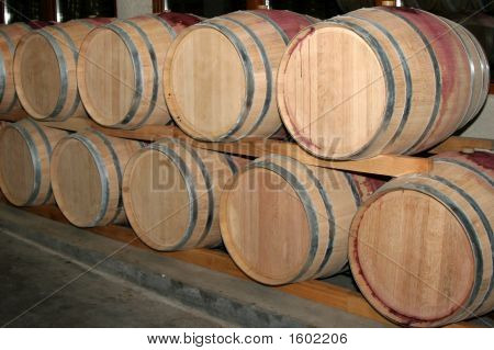 Barrels For Wine In A Wine Cellar 2.