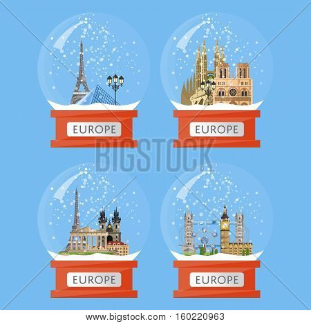 Vector illustration with famous european traditional and modern attractions in snow globe. Christmas gift. European landmarks in glass bowl. Time to travel. Souvenirs set. Snow crystal ball collection