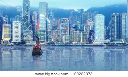 Hong Kong Victoria's harbour evening cruise on authentic junk boat with red sails