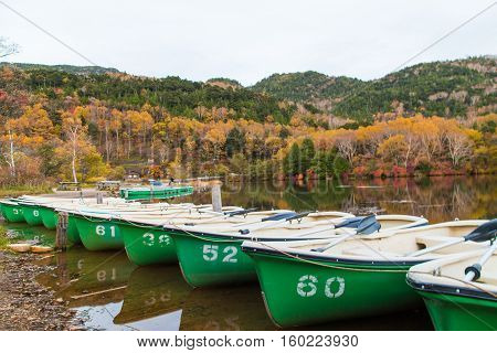 Boats At The Pier Of The Nikko Park At Autumn