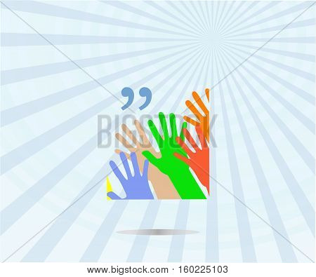 Quotation Mark Speech Bubble. Quote Sign Icon. People Hands. Dance Party Concept