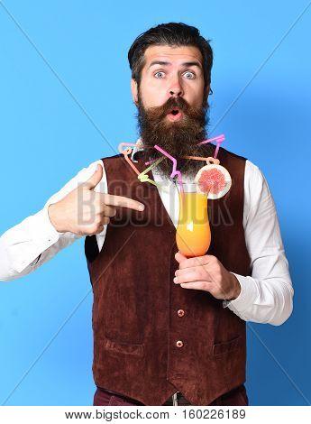 Surprised Handsome Bearded Man