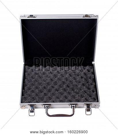 Opened Aluminum suitcase isolated on a white background