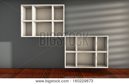 modern white bookcase 3d render in an empty room