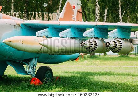 Chassis And Suspension Of Military Weapons On Pylon Of Soviet Russian Military Fighter Or Bomber.