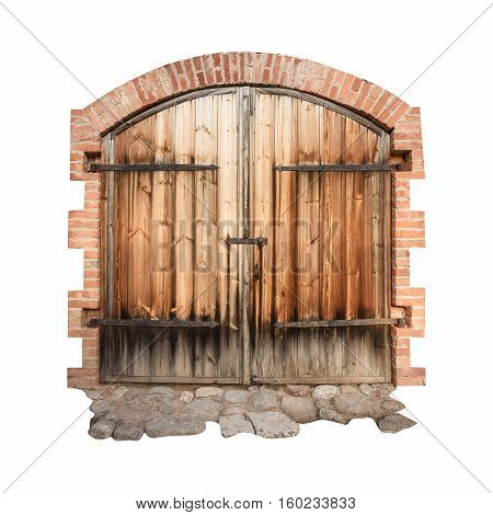 old wooden door with wrought iron elements isolated on the white background
