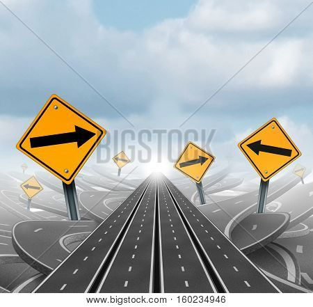 Many roads to success and clear group strategy and solutions for business leadership with straight multiple paths to success choosing the right strategic path with yellow traffic signs cutting through a maze of tangled roads and highways as a 3D illustrat